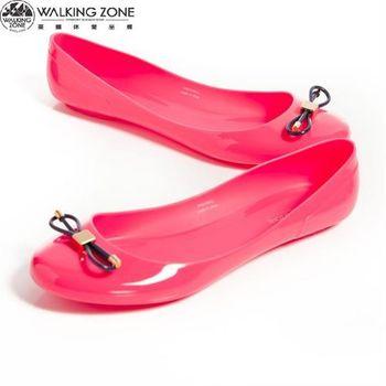 WALKING ZONE 韓版蝴蝶結亮麗配色果凍鞋-桃(另有深藍、淺藍、黃、黑)