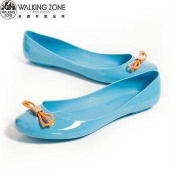 WALKING ZONE 韓版蝴蝶結亮麗配色果凍鞋-淺藍(另有深藍、黃、桃、黑)