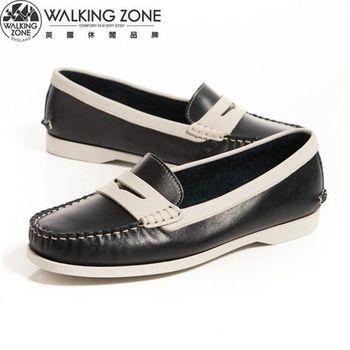 WALKING ZONE 都會真皮簡約配色 休閒莫卡辛鞋女鞋-藍(另有咖)