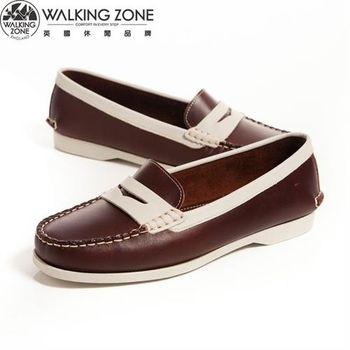 WALKING ZONE 都會真皮簡約配色 休閒莫卡辛鞋女鞋-咖(另有藍)