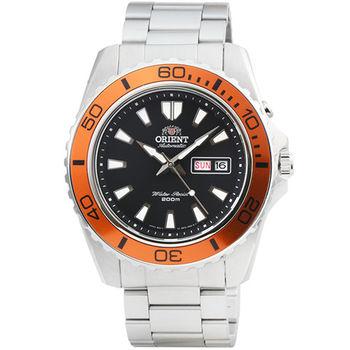 ORIENT 東方錶潛水機械鋼帶錶-黑橘 / FEM75004B (原廠公司貨)
