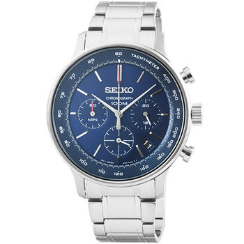 SEIKO精工三眼計時鋼帶錶-藍面 / SSB163P1