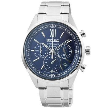 SEIKO精工三眼計時鋼帶錶-藍面 / SSB155P1