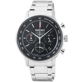 SEIKO精工三眼計時鋼帶錶-黑面 / SSB165P1