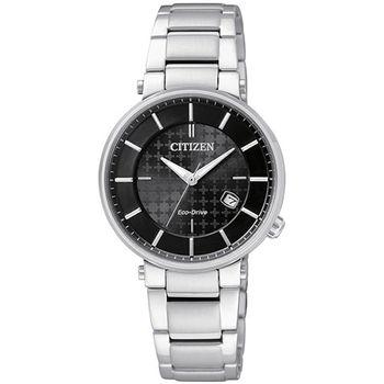 CITIZEN Eco-Drive 幸福時光時尚光動能腕錶-黑/30mm/EW1790-57E
