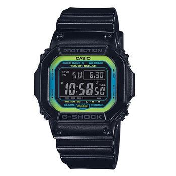G-SHOCK 活力的萊姆綠時尚運動限量休閒電波版腕錶-黑-GW-M5610LY-1