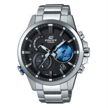 CASIO EDIFICE 全新藍牙爭霸戰智慧再進化運動錶款-銀+藍-EQB-600D-1A2