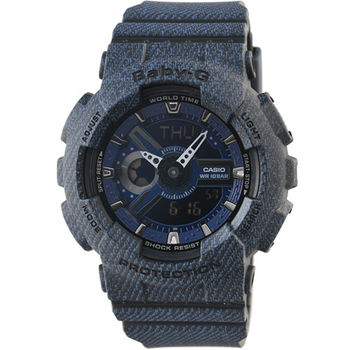 CASIO 卡西歐Baby-G 鬧鈴多時區雙顯錶-單寧藍 / BA-110DC-2A1