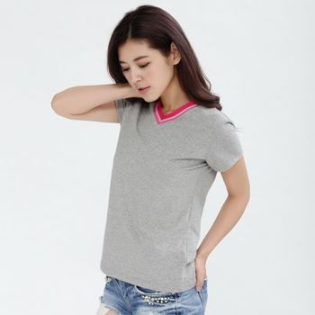 【T.B】(S-XXL)MIT動感時尚機能V領棉T-灰