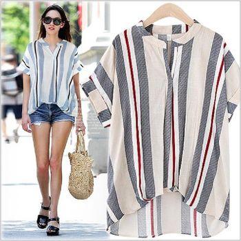 (現貨+預購 RN-girls)-歐美夏季新款V領條紋蝙蝠袖棉麻上衣