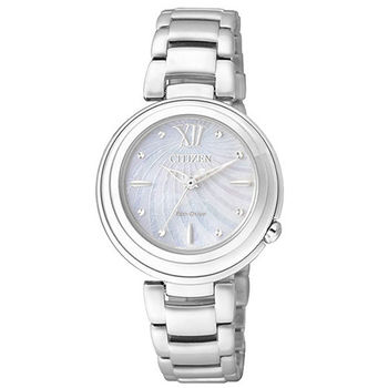 CITIZEN-光動能 L系列 珍珠光彩動人時尚腕錶/珍珠白-32mm-EM0331-52D