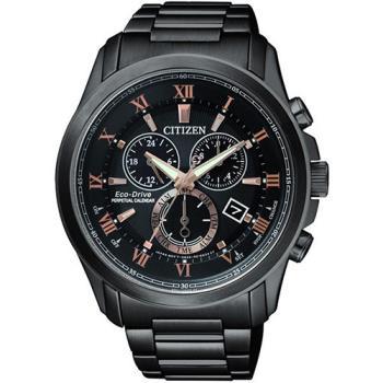 CITIZEN 亞洲限量 光動能萬年曆時尚腕錶-黑x玫瑰金/43mm/BL5545-50E