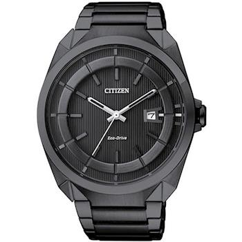 CITIZEN Eco-Drive 黑色時尚三針光動能錶-IP黑/42mm/AW1015-53E