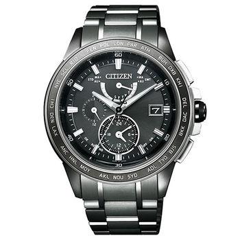 CITIZEN 鈦 光動能限量時尚電波腕錶-黑/42mm/AT9025-55E