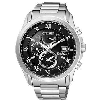 CITIZEN 光動能亞洲限定電波萬年曆腕錶-黑/43mm/AT9080-57E
