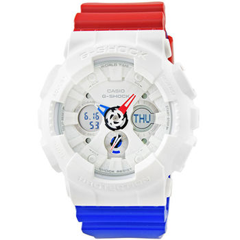 CASIO 卡西歐G-SHOCK 雙顯鬧鈴電子錶-白 / GA-120TRM-7A