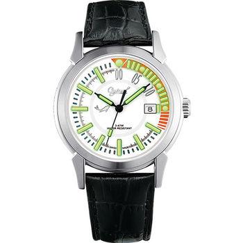 Ogival 瑞士愛其華-夜鷹系列造型氚氣真皮腕錶-白 3696MS