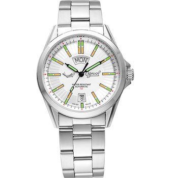 Ogival 瑞士愛其華-飛行官氚氣時尚自動機械錶-白3697ATMS