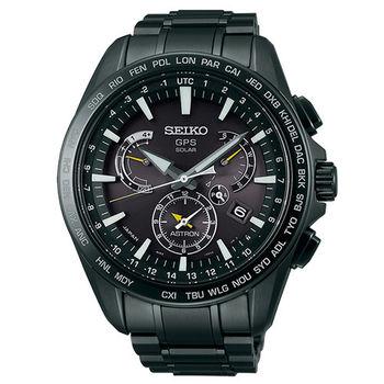 SEIKO ASTRON GPS衛星校時太陽能時尚腕錶(SSE079J1)-鍍黑/45mm/8X53-0AD0SD