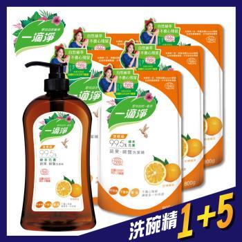 楓康 一滴淨蘆薈多酚洗碗精1+5件組 柑橘/檸檬 任選(1000gx1罐+800gx5包)