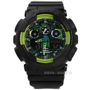 G-SHOCK CASIO / GA-100LY-1A / 卡西歐酷炫迷彩萊姆綠運動指針數位雙顯橡膠手錶 螢光綠x黑 50mm