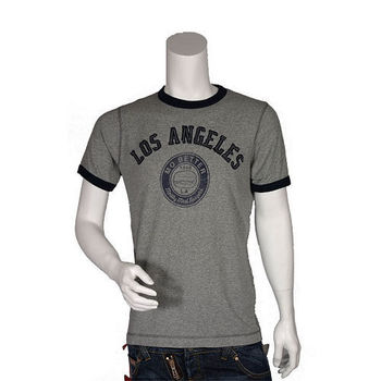 UNIQLO 灰色美式圖騰  貼布繡文字短袖圓領T-shirt
