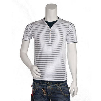 UNIQLO 細條紋假兩件式不收邊短袖 T-shirt