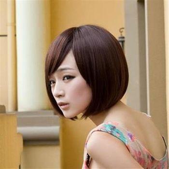 【米蘭精品】短假髮整頂假髮潮流簡約可愛斜瀏海