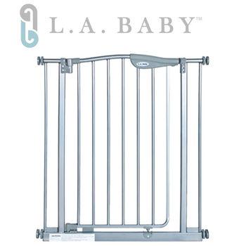 【美國 L.A. Baby】 雙向自動回彈上鎖幼兒安全鐵門欄-灰色
