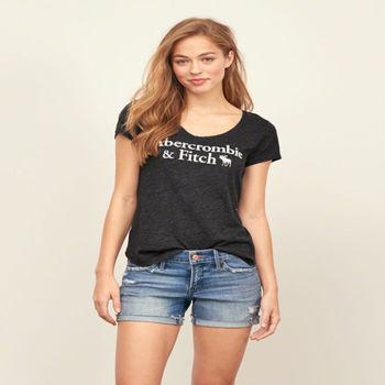 麋鹿先生 - Abercrombie Fitch AF  經典字母 LOGO 短袖 T 恤 - 黑 ( 女 )