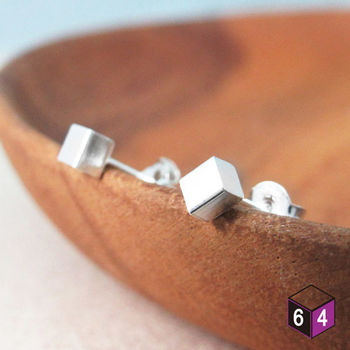 ART64 耳環 幾何方塊 925純銀 正方形 耳環