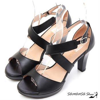 莎曼莎手工鞋【MIT全真皮】纖細性感-真皮 交叉防水台高跟涼鞋 #15120 時尚黑