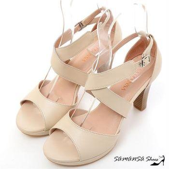 莎曼莎手工鞋【MIT全真皮】纖細性感-真皮 交叉防水台高跟涼鞋 #15120 粉膚色