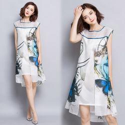 歐風KEITH-Will美麗蝴蝶印花寬鬆無袖連身裙