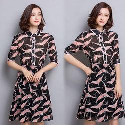 韓國KW秋意燕子翻領五分袖洋裝