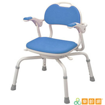 【樂齡網】日式360度旋轉洗澡椅(藍色)