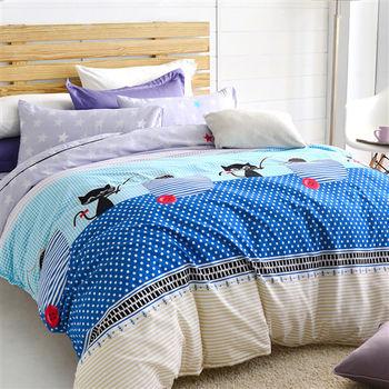 【美夢元素】魔法小貓 天鵝絨 雙人四件式涼被床包組
