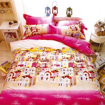 【美夢元素】夢幻小屋 天鵝絨 雙人四件式涼被床包組