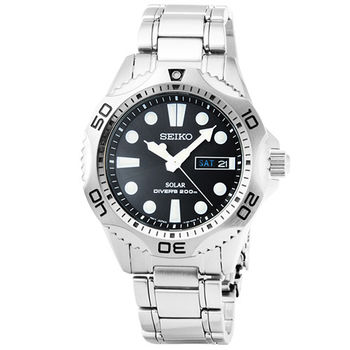 SEIKO日系精工光動能鋼帶潛水錶-黑 / SNE107P1 V158-0AE0D