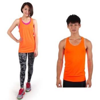 【HODARLA】M-2XL男女挖背背心 輕量 抗UV 0秒吸濕排汗 無袖 台灣製 陽光橘