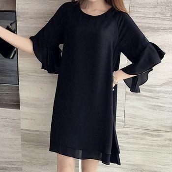 (現貨+預購 RN-girls)-韓國夏裝新品中大尺碼時尚純色顯瘦荷葉袖連身裙