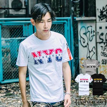 INSPIRATION-NYC雙色印花MA-1造型口袋搭練圓領短T-3色【A1156】