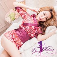 Sexy Meteor 全 ^#45 芬芳網紗罩衫四件式性感睡衣組 ^#40 妍棗紅 ^#