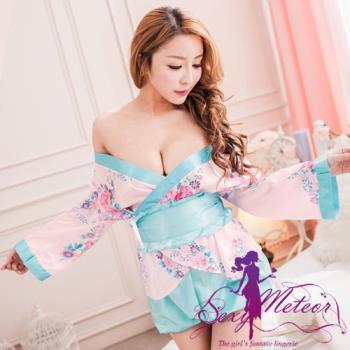 Sexy Meteor 大和情緣花卉和服罩衫四件式角色伴演睡衣組(戀愛粉藍)A2183-01