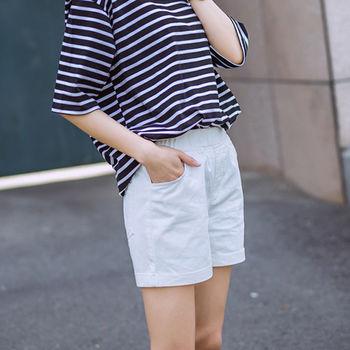 【Fabulous!!】韓版鬆緊腰素色百搭直筒短褲(黑 白兩色可選)