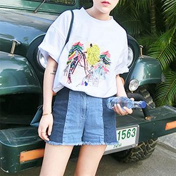 【Fabulous!!】韓版東大門熱款彩色塗鴉寬鬆感垂肩圓領五分袖T恤
