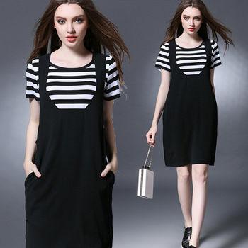 【麗質達人中大碼】二件套休閒洋裝(XL-5XL)