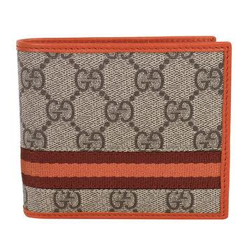 GUCCI   雙G-logo深紅橘織帶皮革邊短夾(橘邊)