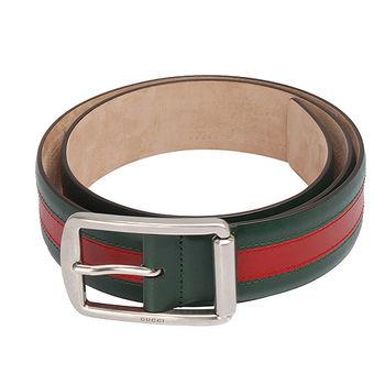 GUCCI 經典霧面綠紅綠銀色金屬釦牛皮腰帶/皮帶(95CM)