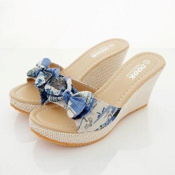 《DOOK》復古信紙布紋蝴蝶結造型楔型厚底拖鞋/涼鞋-藍色